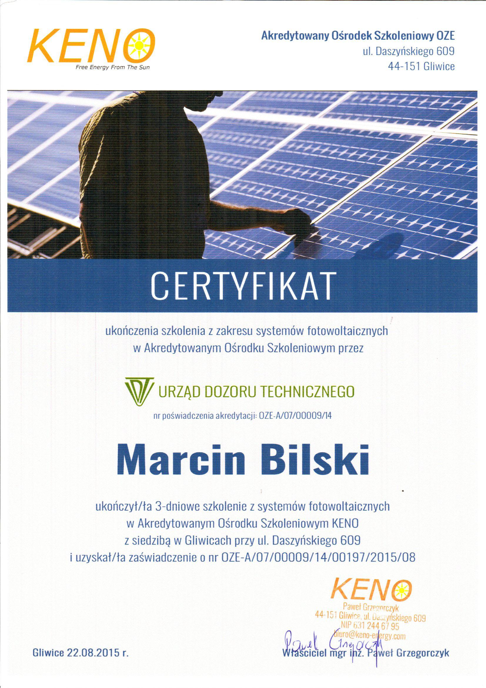 Certyfikat Keno