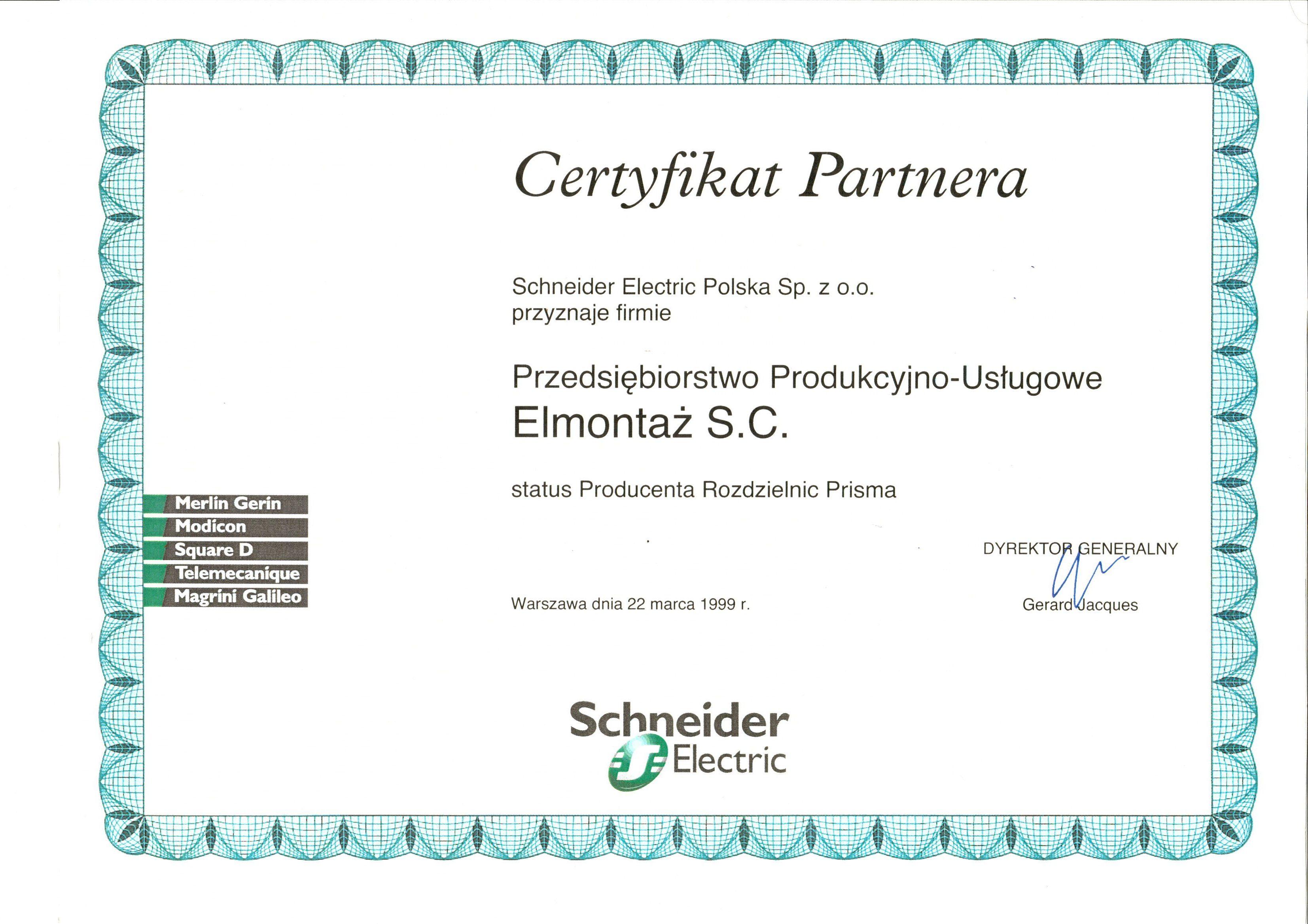 Certyfikat Partnera Schneider Electric