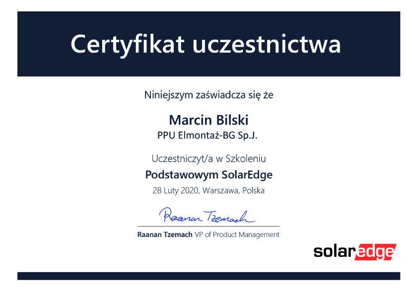 Certyfikat SolarEdge