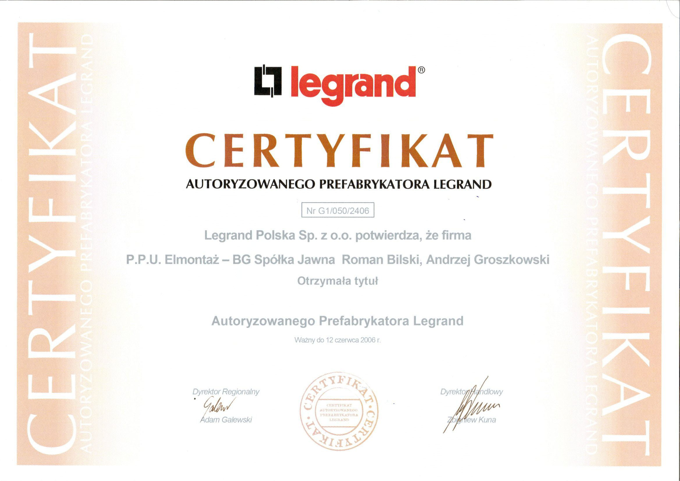 Certyfikat Legrand