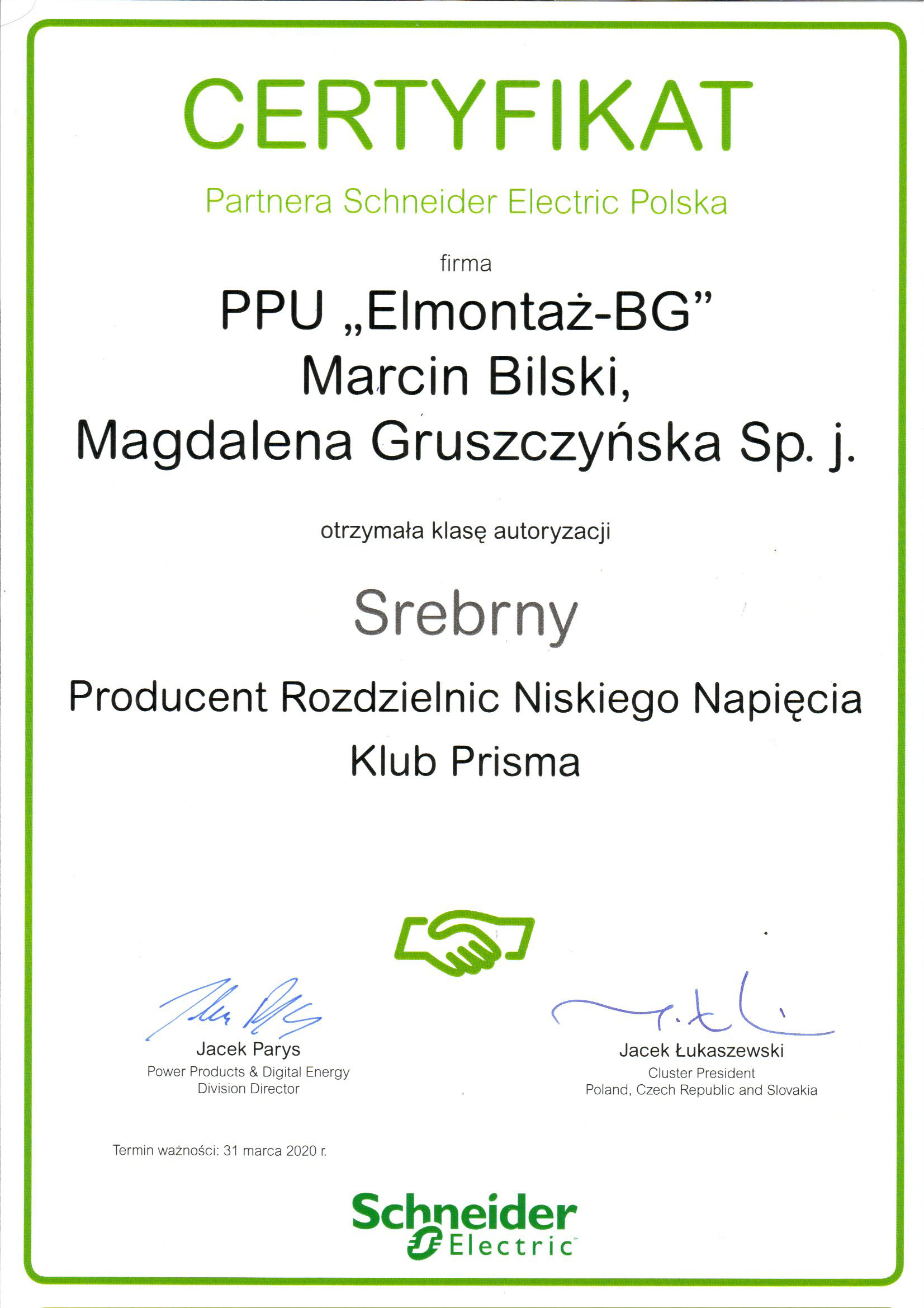 Certyfikat Schneider Electric